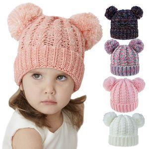 Kids Knit beanie hats children knitting crochet pompom hat 24Colors Baby Winter Warm Skullies beanie Girl Ski Caps