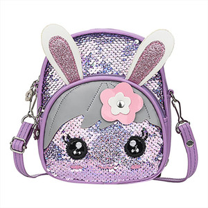 2019 New Children Fashion Casual Blinking Sequins Backpack Fashion Wild Cute Rabbit Ear Backpack sac a dos femme 50