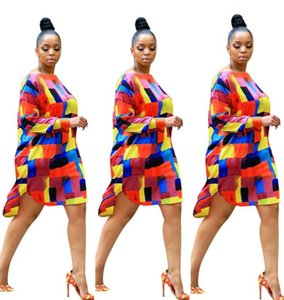 2020 Explosion models fashion irregular flower type digital printing large size dress European and American women's clothing