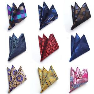25 Styles Classic Mens Paisley Grid Silk Pocket Towel Geometry Wedding Business Suit Handkerchief Green Pocket Square