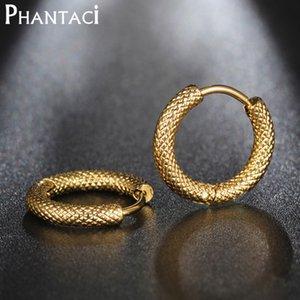 Phantaci No Fade Edelstahl runden Kreis Ohrclips für Goldfarben-Dame Women Staub Stud Ohrringe Fashion Jewelry