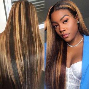 IShow P4 Resalte / 27 recto 4x4 del encierro del cordón pelucas del pelo humano recto Omber Pre-desplumados cordón del pelo humano pelucas delanteras