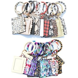 2021 PU Leather Wristlet Card Pouch with Bangles ID Card Holder Coin Purse Tassel Key Rings Party Favors 19 Colors