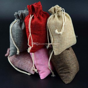 9cmx12cm Colorful Mini Burlap Bag Jute Pouch Drawstring Gift Wrap Fabric Rustic Styles Package Bag Candy Holder Party Suuplies
