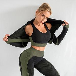 Seamless las mujeres Yoga Establece femenino de la gimnasia Traje de deporte Running Entrenamiento Entrenamiento Fitness Sports Suit Yoga ropa de gimnasia sujetador 3 Pices