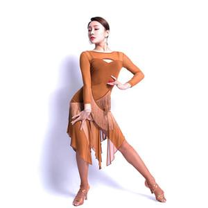 Fringe Latin Dance Dress Women Long Sleeve Bare Back Tassel Dress for Ballroom Samba Tango Chacha Dancing Performamnce L9601