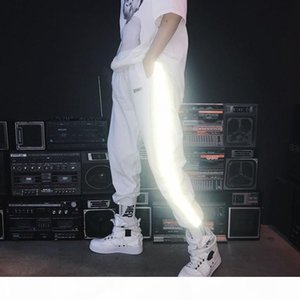 black white reflective pants casual loose boy pant high quality retail wholesale elastic cord noctilucence trousers for man