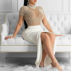 Sexy Dress See Through Tulle with Bead Tops Patchwork Slit Dresses for Women Short Sleeves Female 2020 Spring Summer New Arrival 0930