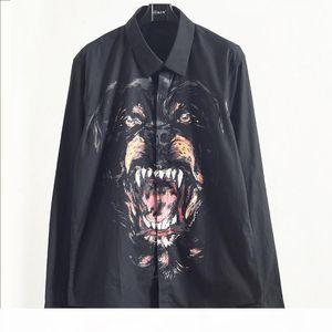 Mens Stylist Shirts Autumn Male Dog Head Printing Shirt Youth Square Collar Long Sleeves Shirts Black Size M-2XL