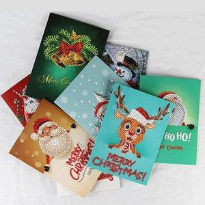 Taladros de diamantes felicitación de la pintura Festival de cumpleaños de los niños de dibujos animados de Navidad Especial Tarjetas Postales 5D DIY bordado Greet tarjetas de regalo AHA1764