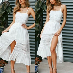 Womens Summer Boho Maxi Dress Evening Party Beach Dresses Sundress Lace Cutout High Waist Backless Sexy Strap Long White Dress1