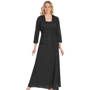 Robe De Soiree Lace Long Evening Dress Jacket Long Sleeve Wedding Guest Dress Two Piece Formal Mother of the Bride Dresses LJ201224