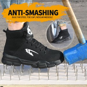New exhibition Fashion safety shoes Men's breathable mesh anti-smashing piercing lightweight steel toe cap wear site work shoes 201204