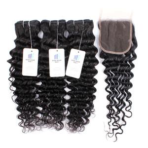 Бразильский Straight Virgin человеческих волос Пучки 3 Связки с 4x4 Top Lace Closure Дешевые Wet Плетение Remy человеческих волос Extensions Drop Доставка