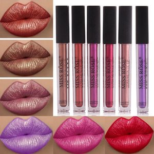 MISS ROSE 1pcs Metallic Lip Gloss Matte Liquid Lipstick Metalic Lipgloss Professional Sexy Velvet Lipstick Waterproof Lip Makeup