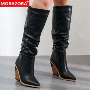 2020 Hot Brand knee high boots women pointed toe thick high heels autumn winter boots solid colors dress shoes woman210