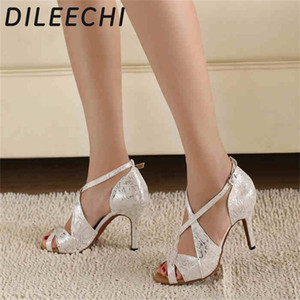 DILEECHI marca das mulheres sapatos de dança de cetim branco Leopard latino atacado Praça Ponto Salsa partido sapatos de dança Sapatos de salto alto 8.5cm 201017