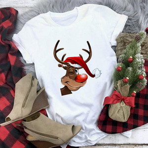 Winter 2021 Christmas Tshirts Lovely Santa Claus Reindeer Printed Funny Cartoon T Shirt Women Friends Xmas Gift Basic Tshirt Top