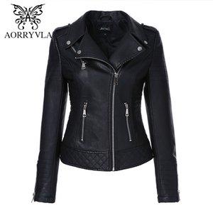 AORRYVLA Yeni Sonbahar Kadınlar PU Deri Ceket teslimi Aşağı Yaka Kadın moto motorcu fermuar ceket İnce Siyah Sahte Deri OutwearX1016