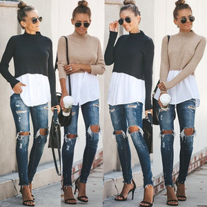 Spring Autumn Womens Designer Sweaters Fashion Crew Neck Tops with Button Female Sexy Pullover Knits Clothing