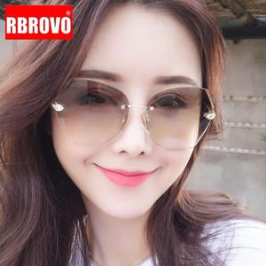RBROVO 2020 Rimless ретро солнечные очки женщин Крупногабаритные Солнцезащитные очки Женщины Brand Designer очки для зеркала