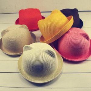ARLONEET Summer Baby Hat Cap Children Breathable Straw Hat Kids Boy Girls Hats Children's cat ears sunhat 516