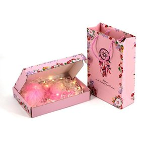 Dreamcatcher Printed Gift Box Bag Pink Square Birthday Gift Bags Jewelry Underwear Birthday Storage Box Wedding Party Packaging ZYY448