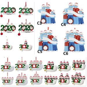 2020 الراتنج عيد الميلاد الحلي عيد الميلاد الأشجار قلادة DIY اسم العائلة من تعليق الزينة ثلج قلادة مع قناع الوجه بولي كلوريد الفينيل البلاستيك HH9-3367