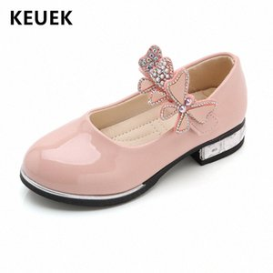 Spring Autumn Children Flats Girls Casual Leather Shoes Bow Knot Rhinestones Princess Shoes Loafers Student Show 01A 7Yvi#