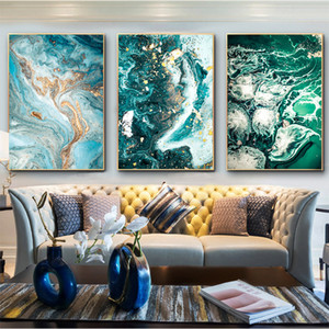 Green Blue Ocean River Fluid Abstract Wall Art Picture Canvas Painting Poster Print Wall Art Pictures Living Room Decoration LJ201128