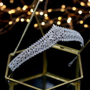 Asnora Hermosa Cristales Princesa Tiara Nupcial Nupcial Tiaras Accesorios para el cabello Coroa de Noiva Y19061503