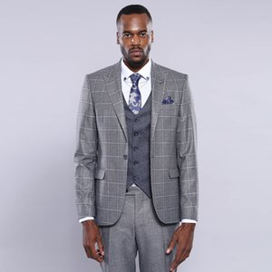 2021 Grey Glen Plaid Slim Fit Wedding Tuxedos One Button Two Pieces Peaked Lapel Checked Mens Suits