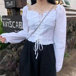 Chiffon mulheres sólida outono elegante blusa branco camisa fêmea escritório senhora casual manga longa designer coreano tops 20201