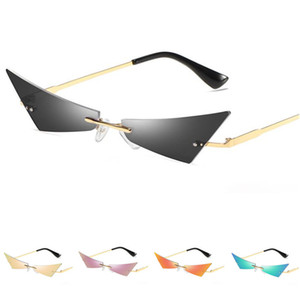 NEW Women & Men Personality Sunglasses Rimless Sun Glasse Cat Eye Goggles Anti-UV Spectacles Narrow Side Eyeglasses Ornamental A++
