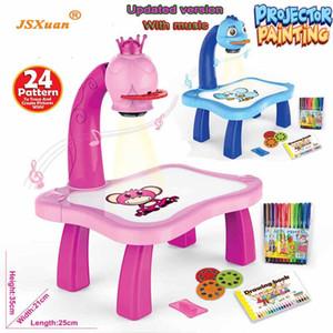 Jsxuan Aggiornato il proiettore di pittura giocattoli 3 in 1 Proiezione puzzle Proiezione dipinta dei cartoni animati Bambini di Apprendimento precoce Desk Regalo C0120
