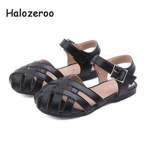 Summer 2020 New Baby Girls Princess Sandals Children Pu Leather Flats Kids Brand Shoes Beach Sandals Black Closed Toe
