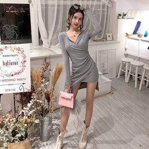 Hirigin sexy collar V Knit Skirt elegant size high sleeve long skirt relaxed office women's autumn winter dress sweater