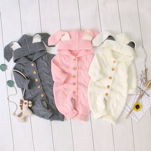 kids clothes girls boys Sweater rabbit ears Rompers Onesies infant Toddler Hooded knit Jumpsuit Autumn Winter baby Climbing clothes Z1854
