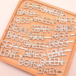 Mode Silber Gold Letter Word Grip Pin Spange Ornament Haarschmuck Strass Kristall Hairpin Haarklammer Haarspangen Haarspange KKF2105