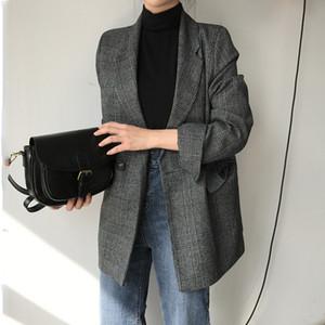CBAFU sonbahar ilkbahar ceket kadın takım elbise mont N785 201.006 ceket yaka ofis aşınma çalışma pist ceket aşağı gündelik dönüş dış giyim ekose