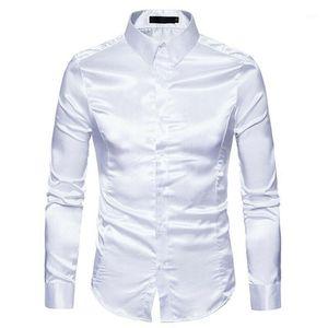 Мужские повседневные рубашки мода мужская тонкий сатин блестящий шелк чувствовать себя умное платье свадьба деловая рубашка сверху черный белый хаки1