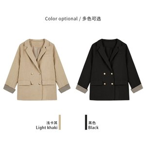 Lapel Double-breasted Blazer Women's Spring New Solid Color Blouse Suit Y201026