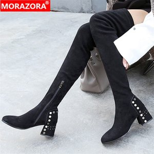 2020 new arrival thigh high boots women flock zip autumn high heels shoes zip fashion sexy Stretch boots female210