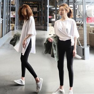 Cotton Summer Slit T shirt Loose Top Long Pure White Short Sleeve Long T shirt Female Drop Shipping