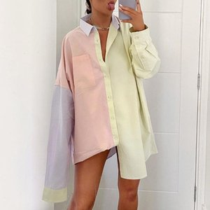 Contrast Color Women Blouse Irregular Zaraing Shirt Oversize Summer 2021 Y2K Aesthetic Tops Women's Clothing 90s Outfit