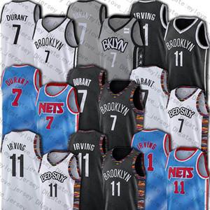 BrooklynNetsUniforme Jersey 7 Kevin Durant Kyrie Irving 11 Baloncesto jerseys teñido anudado del estilo clásico de edición de nuevo a 1990 Jersey
