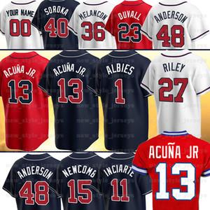 13 Ronald Acuna JR Jersey 5 Freddie Freeman 10 Chipper Jones Dale Murphy 7 Dansby Swanson Ozzie Almies Dansby Swanson Baseball Jerseys