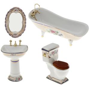 4pcs Bathroom Decor Toilet Bathtub Set Dollhouse Miniature Accessory 1:12 #3 1019