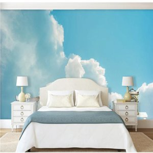 3d stereoscopic wallpaper Beautiful small fresh blue sky white cloud sky wallpapers background wall mural