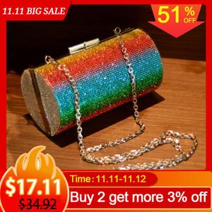 Rainbow Rhinestone Purse Evening for Women Luxury Party Handbag Wedding Clutch Diamond Cylinder Shoulder Bag ZD1739 Q1106